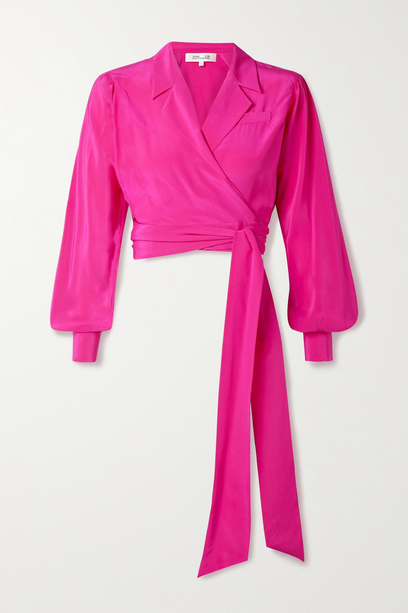 DIANE VON FURSTENBERG - Stephanie 真丝双绉围裹式短款上衣 - 粉红色 - US8