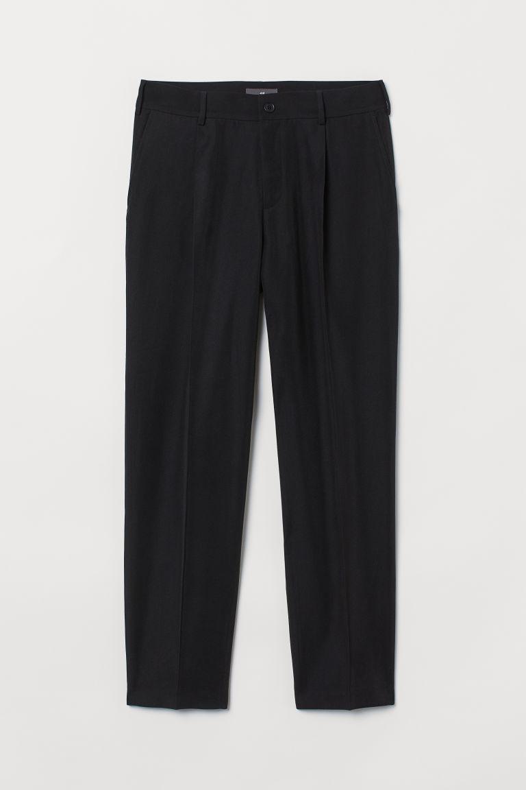 H & M - 斜紋煙管褲 - 黑色