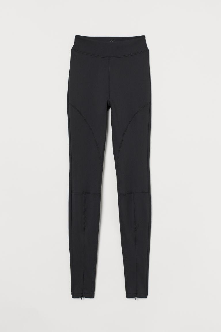 H & M - 拉鍊褲腳緊身運動褲 - 黑色