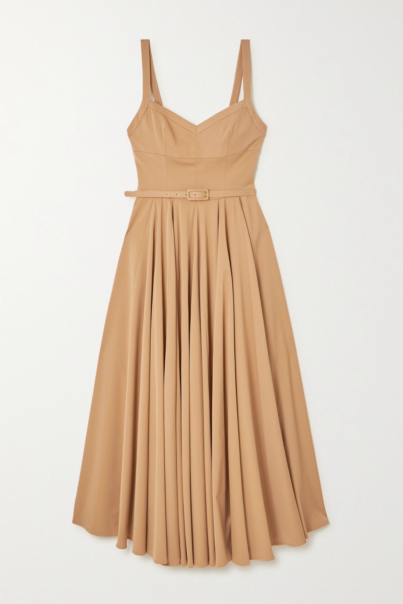 EMILIA WICKSTEAD - Elita Belted Pleated Printed Poplin Midi Dress - Neutrals - UK8