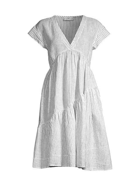 St Barths Jet Stripe Tiered Linen Dress