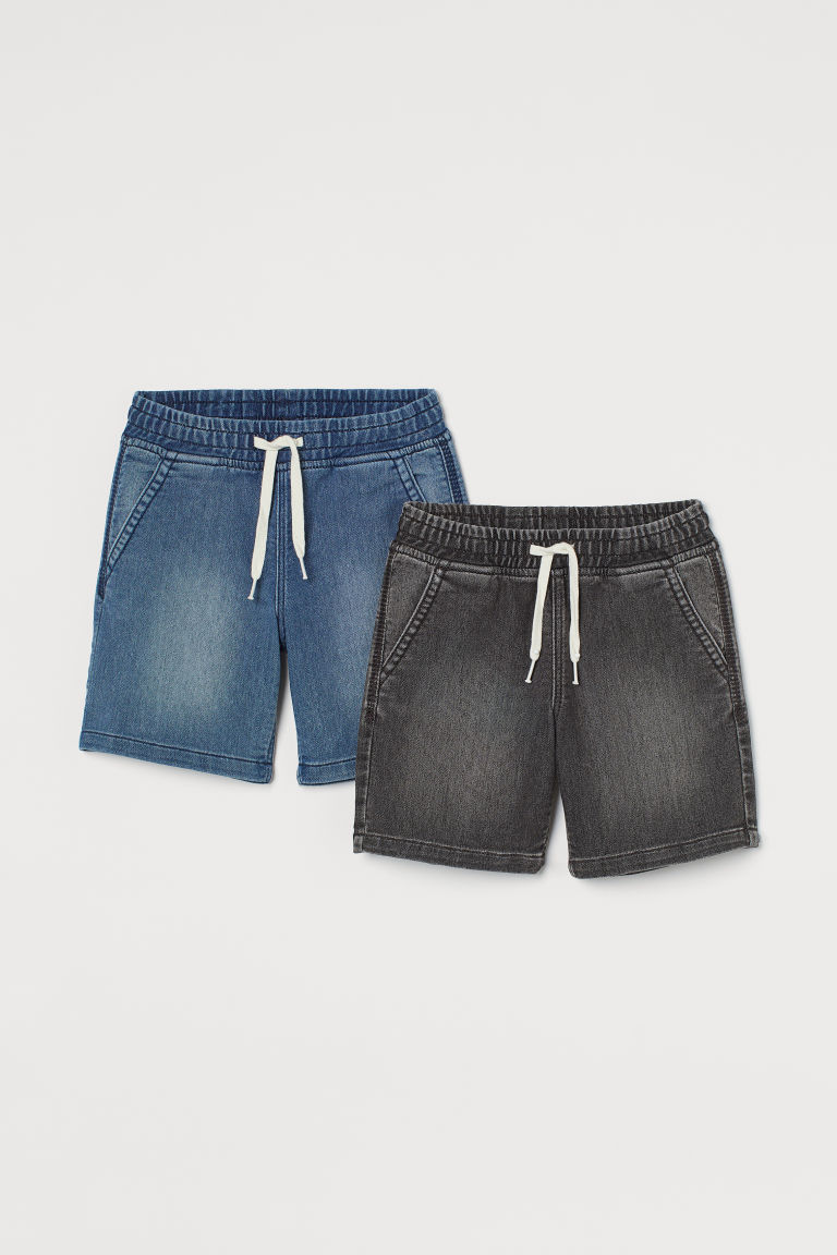 H & M - 2件入丹寧鬆緊式短褲 - 灰色