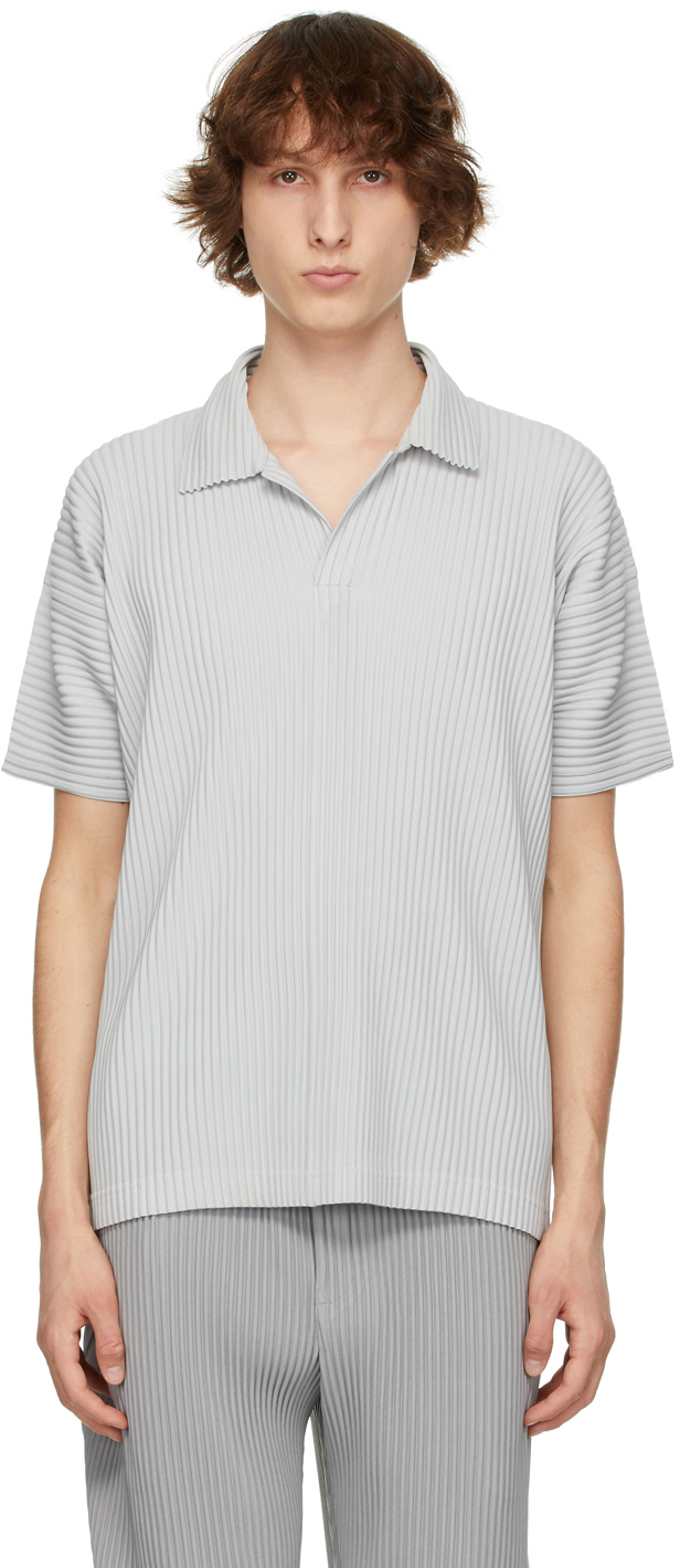 Homme Plissé Issey Miyake 灰色 Basic Polo 衫