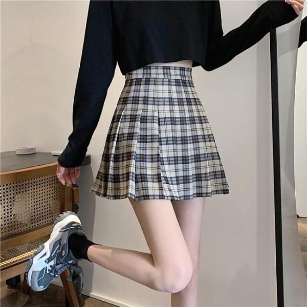 百褶裙子JK半身裙女裝春夏2021年新款小個子A字高腰顯瘦格子短裙 pinkq時尚女裝