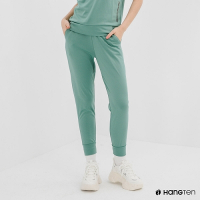 Hang Ten-女裝-恆溫多功能-REGULAR FIT標準鳥眼吸排紗涼感抗菌除臭運動長褲-綠色