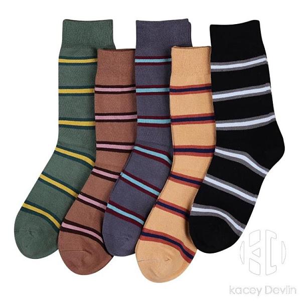 運動吸汗素色棉襪日系簡約條紋學生布標中筒長襪【Kacey Devlin】