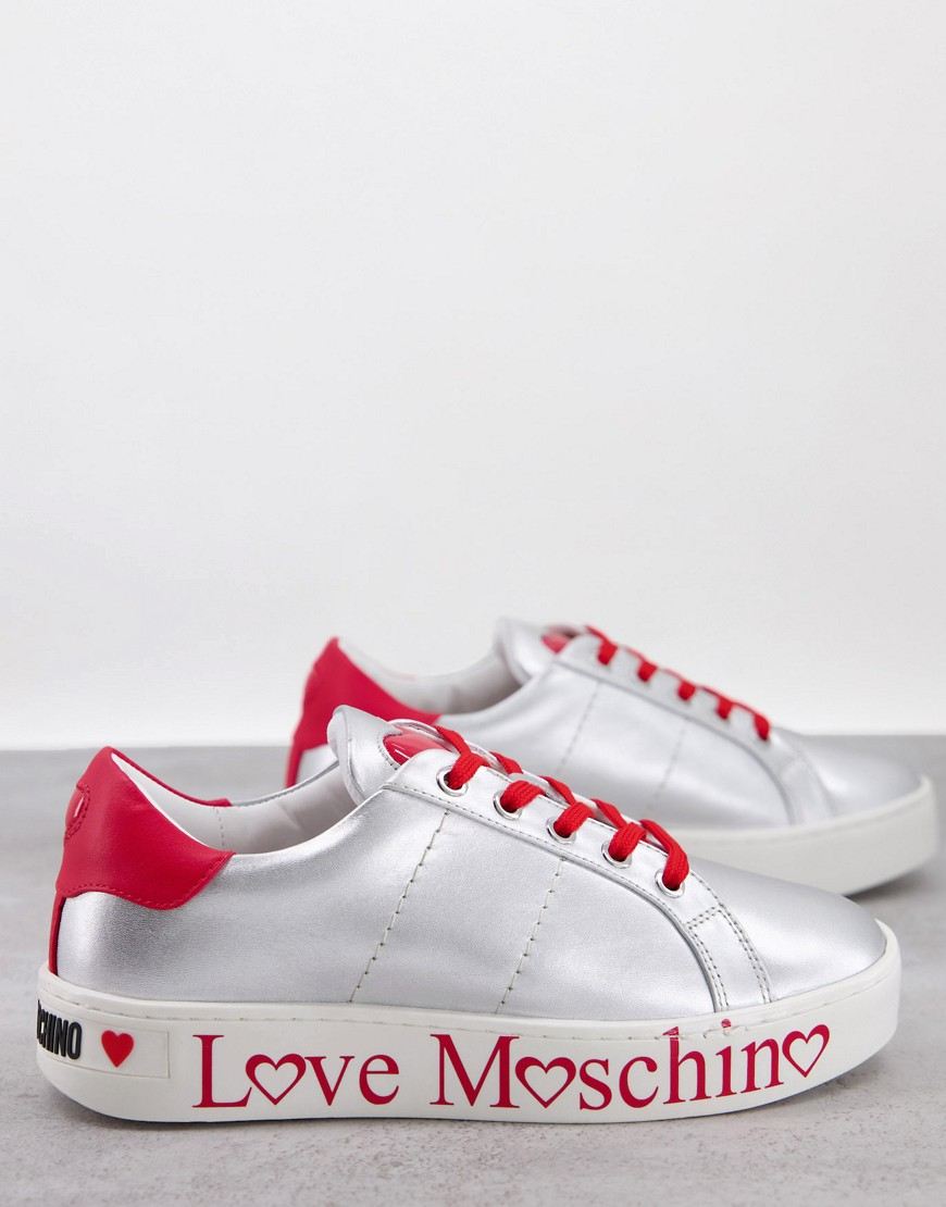 Love Moschino flatform trainers in silver and red
