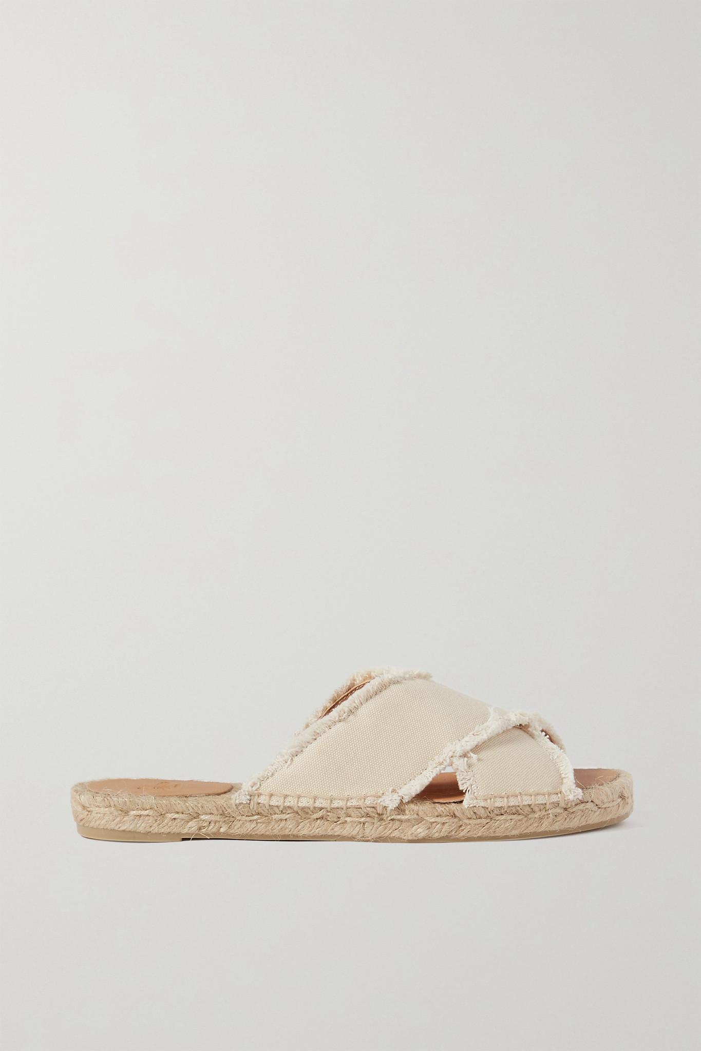 CASTAÑER - Palmera 毛边帆布麻底拖鞋 - 奶油色 - IT35
