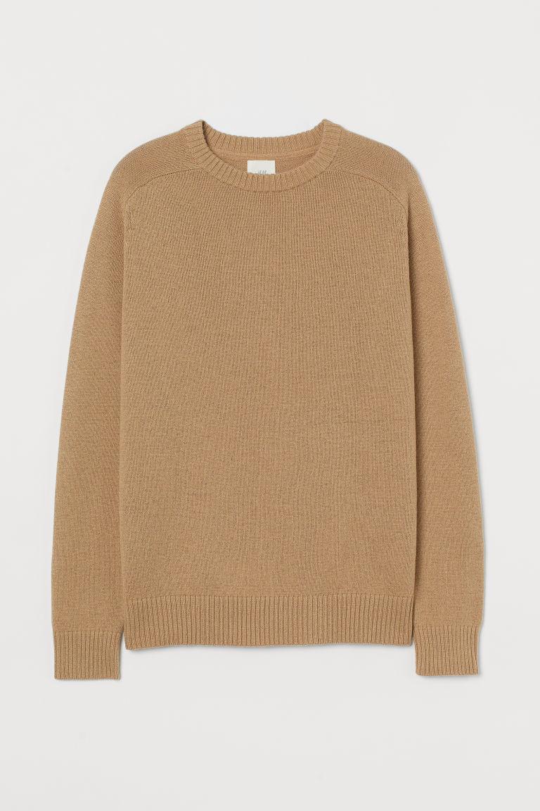 H & M - 羊毛混紡套衫 - 米黃色