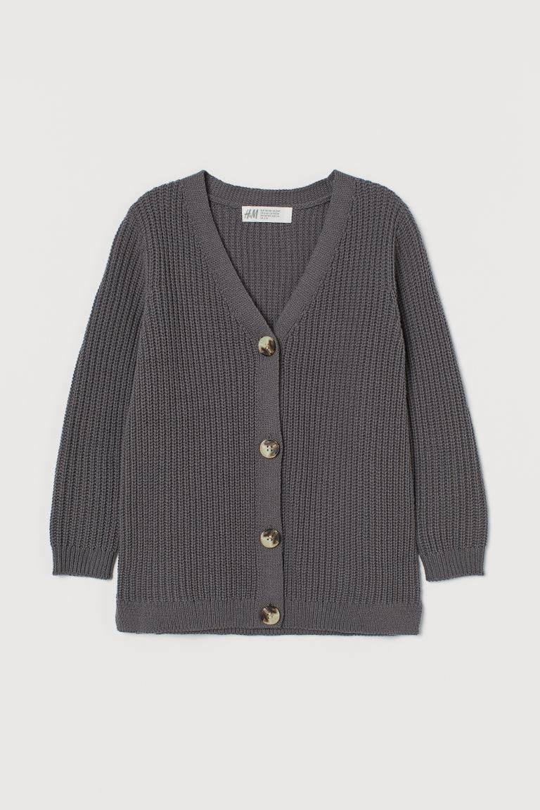 H & M - 棉質混紡開襟衫 - 灰色