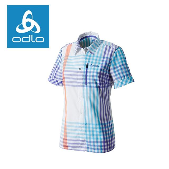 【瑞士ODLO】 女銀離子快乾抗UV短袖線條襯衫 524911 (70157 藍紫)