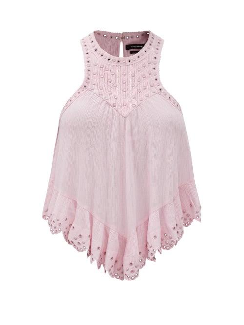 Isabel Marant - Lanny Studded Cotton-blend Crepon Top - Womens - Light Pink