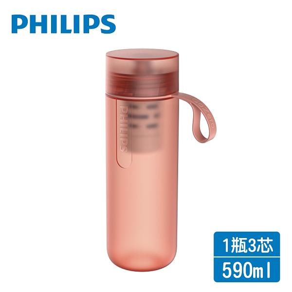 PHILIPS飛利浦 微濾隨身濾水瓶+濾芯二入AWP2712+AWP286(共1瓶3芯)