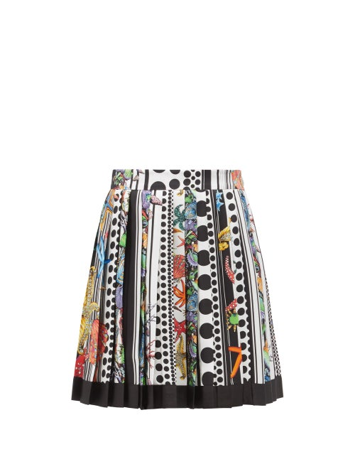 Versace - Trésor De La Mer-print Pleated Silk-satin Skirt - Womens - White Multi