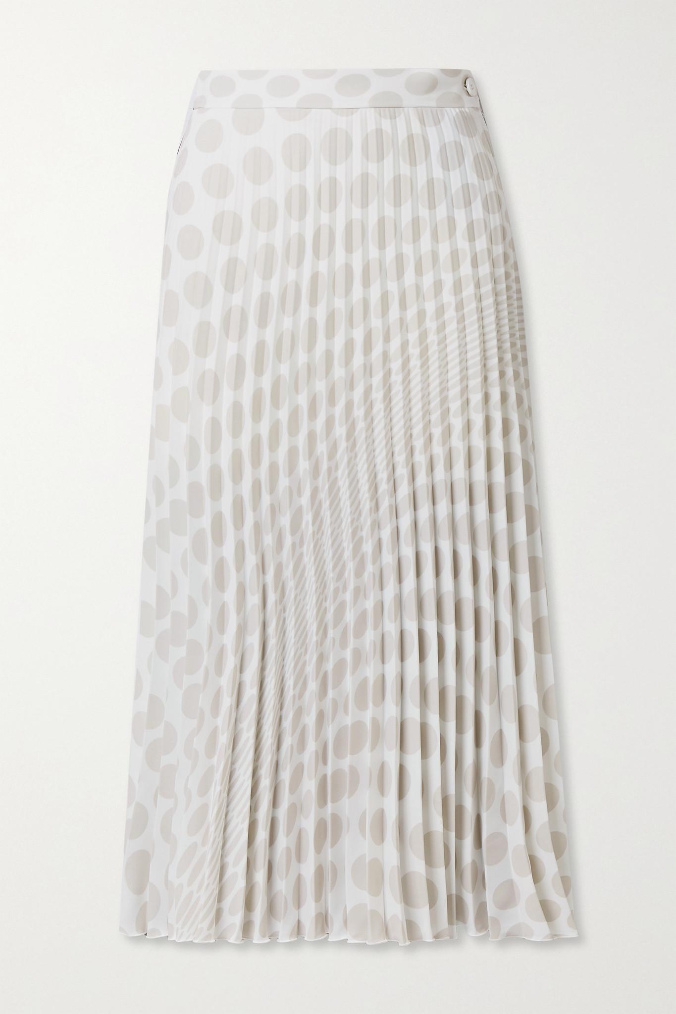 MM6 MAISON MARGIELA - 褶裥波点绉纱中长半身裙 - 黑色 - IT42