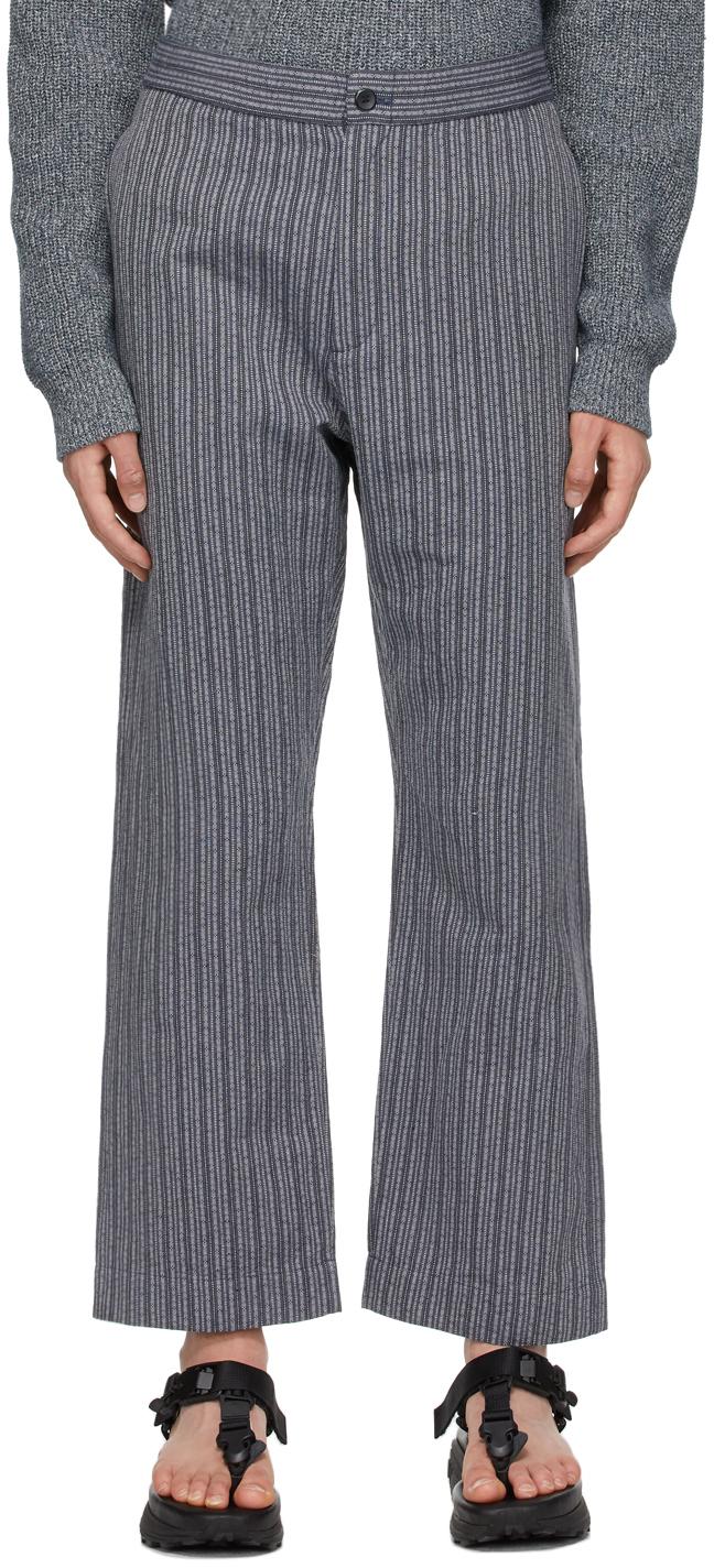 Snow Peak 蓝色 Dobby 条纹长裤
