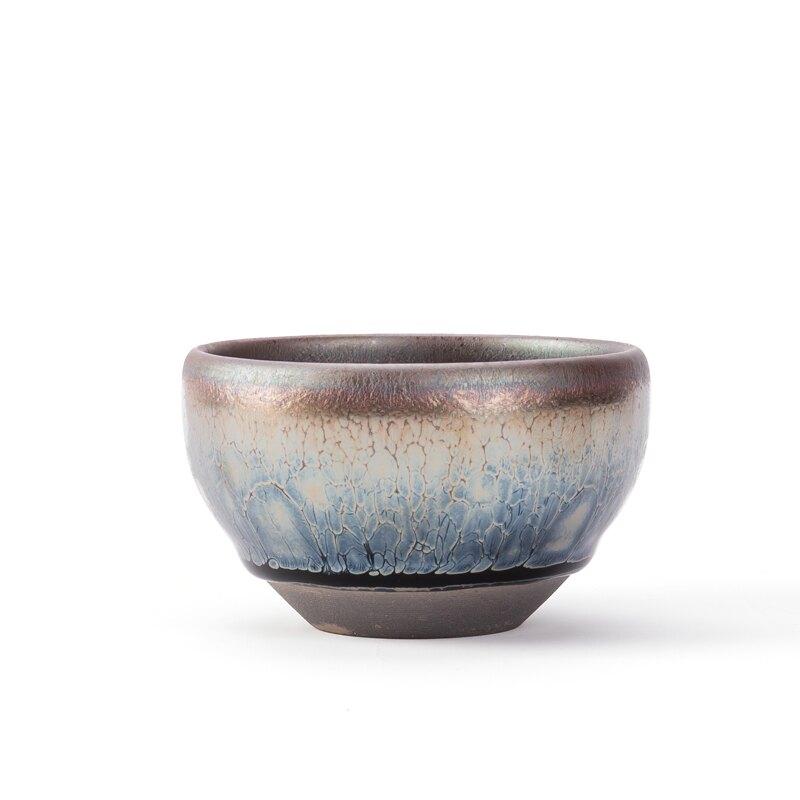 建盞鑲銀窯變天目盞茶杯陶瓷功夫茶杯單杯主人杯功夫油滴茶盞銀杯