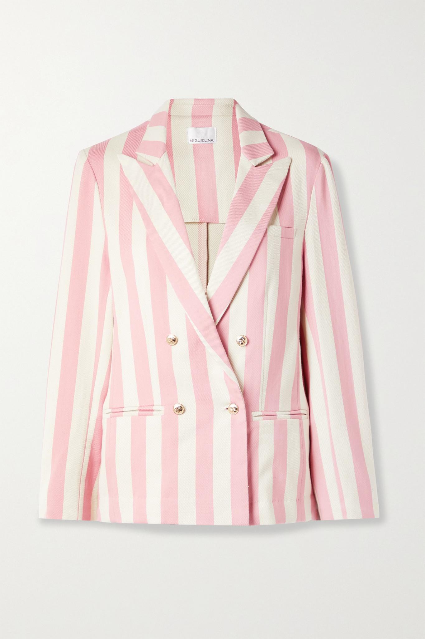 MIGUELINA - Chiara 双排扣条纹纯棉斜纹布西装外套 - 粉红色 - small