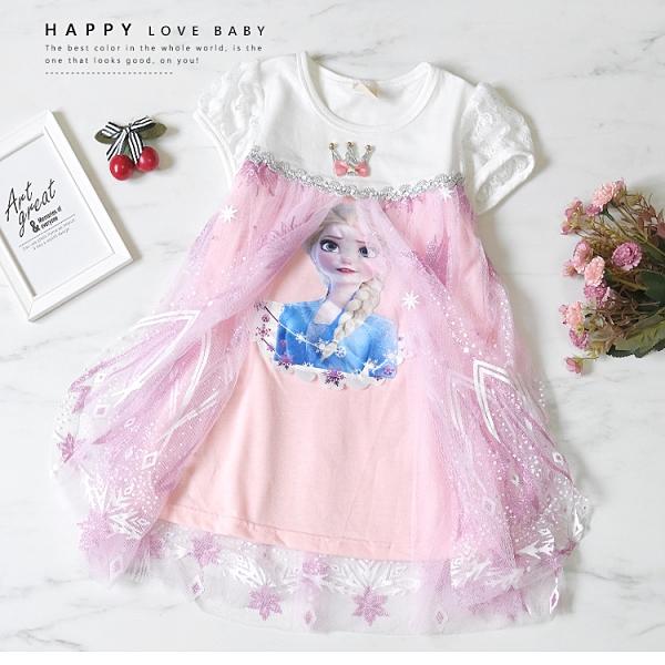 冰雪艾莎閃爍粉系洋裝 春夏童裝 女童洋裝 女童長版 女童連身裙 女童傘裙