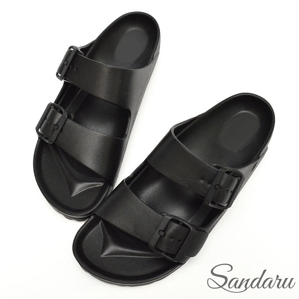 防水鞋 雨鞋 親膚舒適輕量雙扣拖鞋-黑
