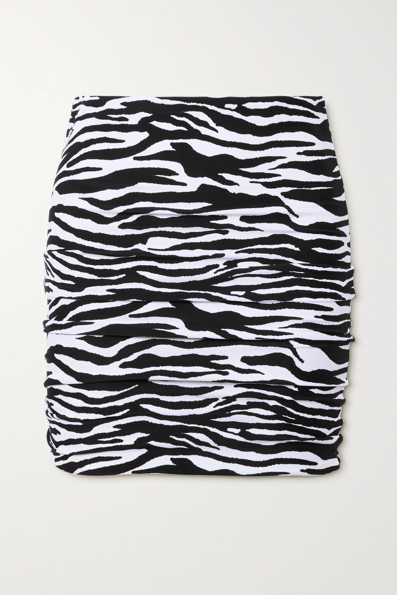 THE ATTICO - 褶饰斑马纹弹力平纹布迷你半身裙 - 动物纹 - medium