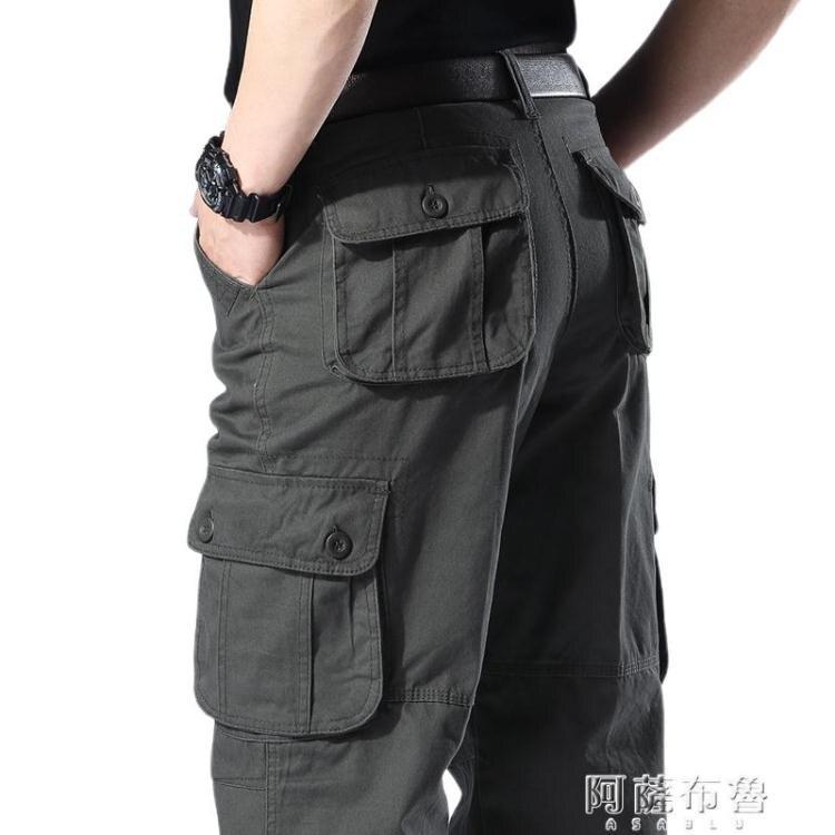 速乾褲 正品純棉大碼工裝褲加肥加大寬鬆長褲直筒高腰勞保褲工地干活褲子【簡約家】