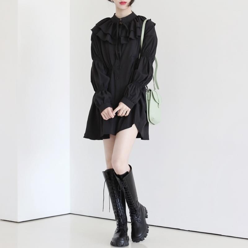 韓國空運 - Nike shirring button shirt 迷你短洋裝