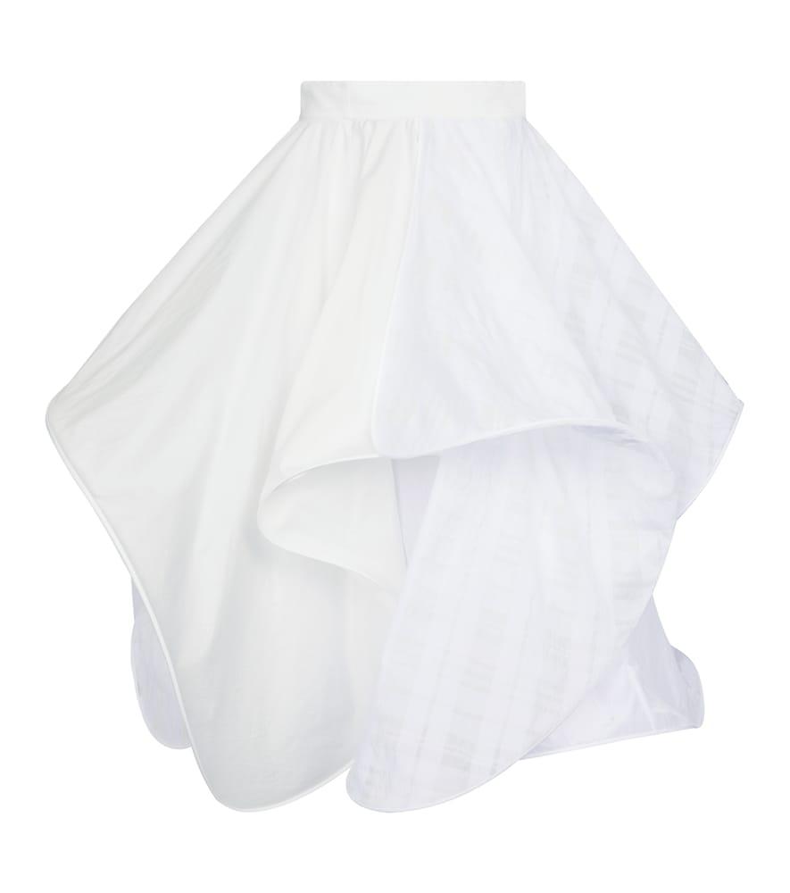 Cotton-blend midi skirt