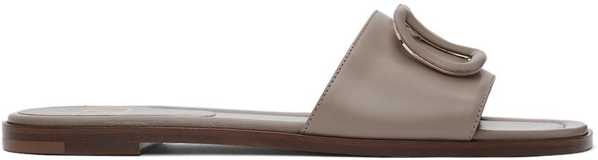 Valentino Garavani 灰褐色 VLogo 拖鞋