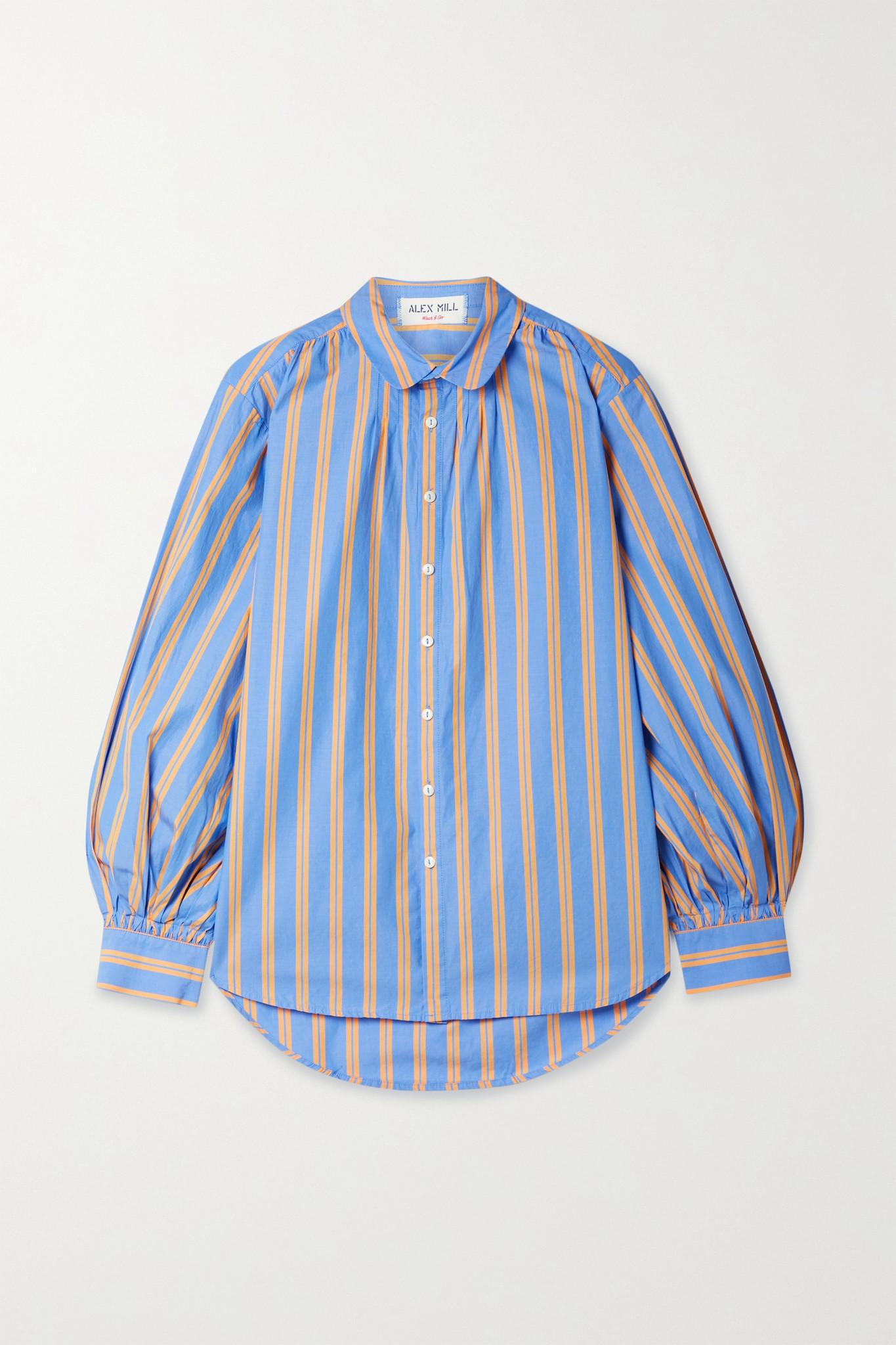 ALEX MILL - Kit 条纹纯棉府绸衬衫 - 蓝色 - x small