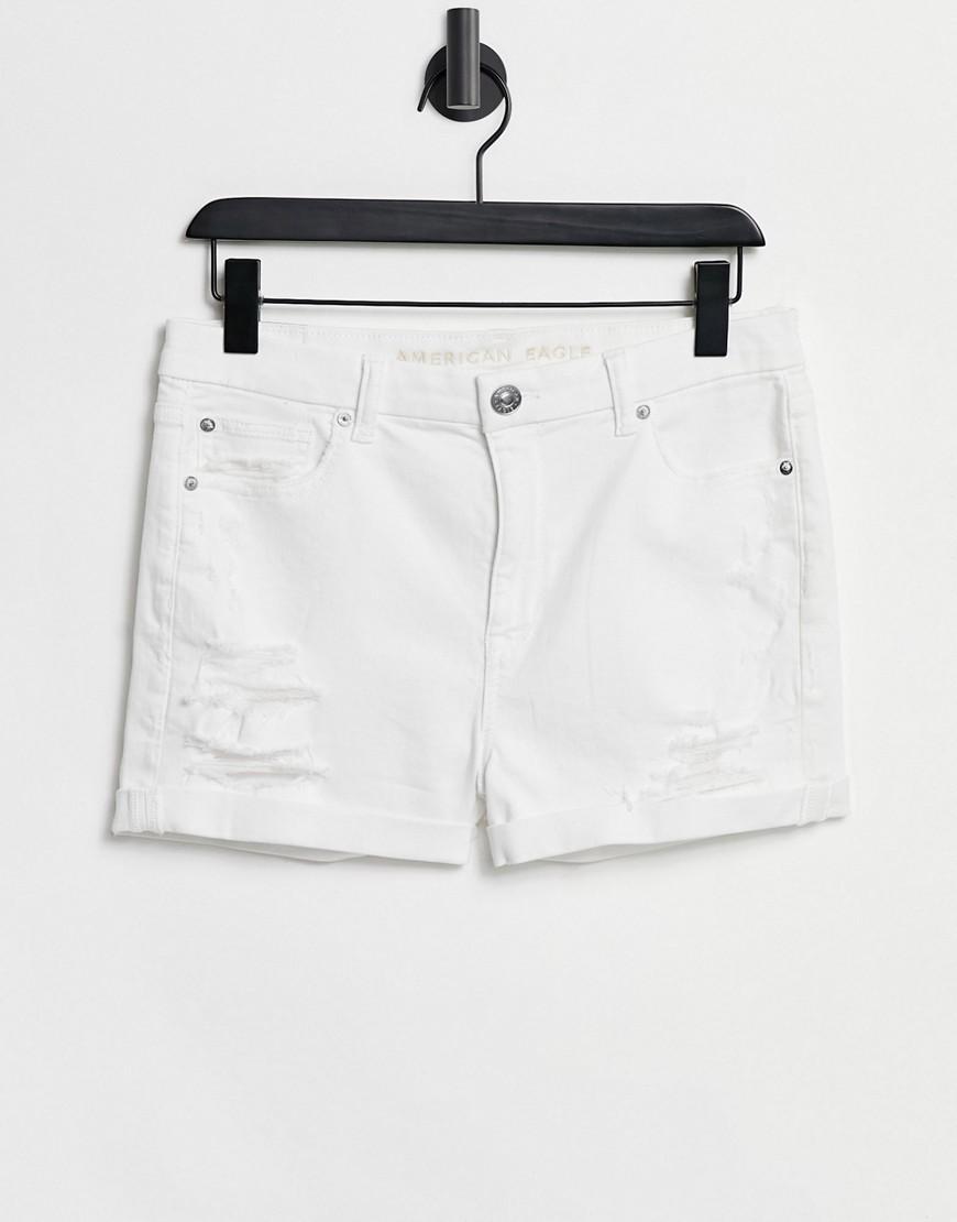 American Eagle high rise denim shorts in white
