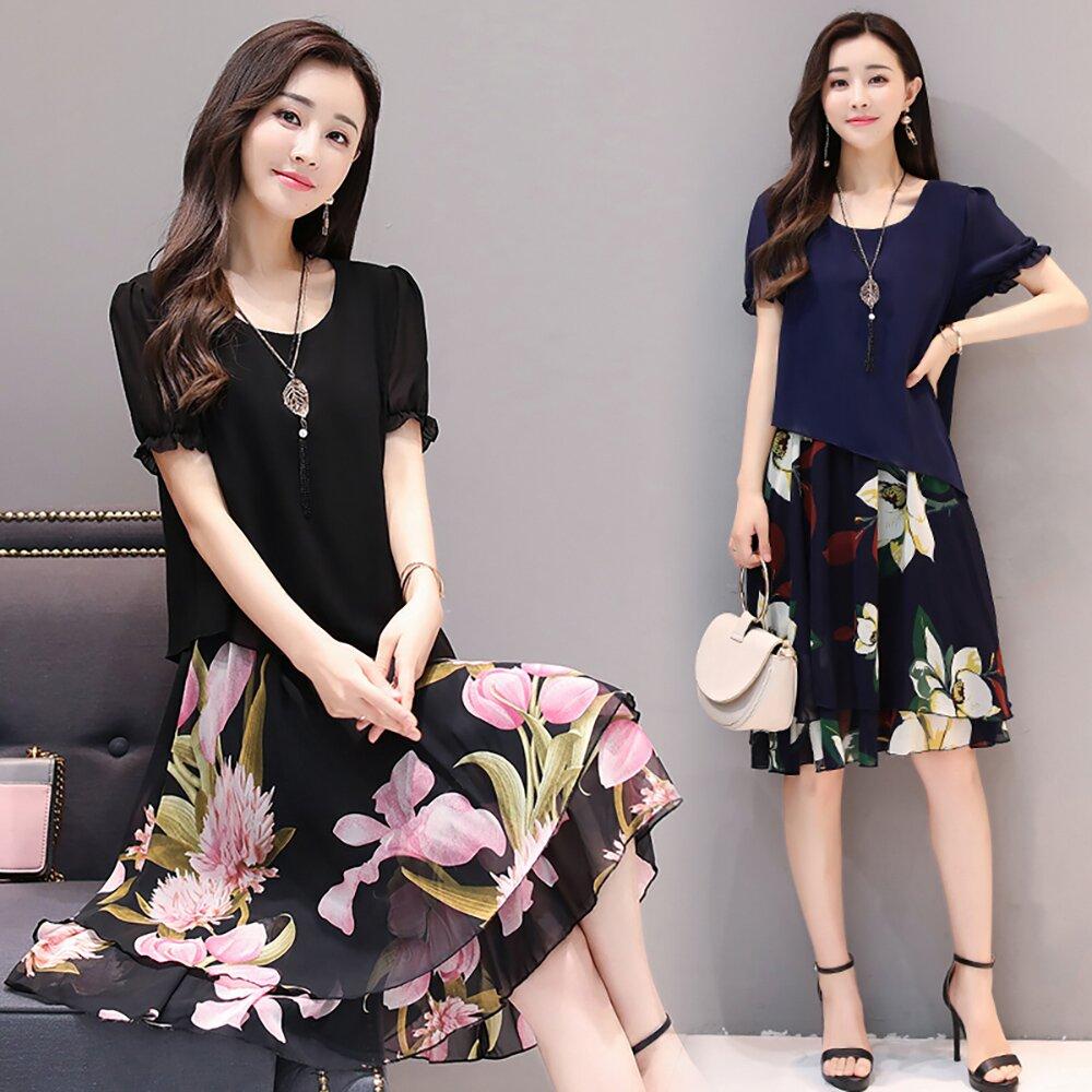 【最水】預購+現貨-浪漫層次感裙襬大碼雪紡洋裝-綠花、粉花/XL~4L(110031)