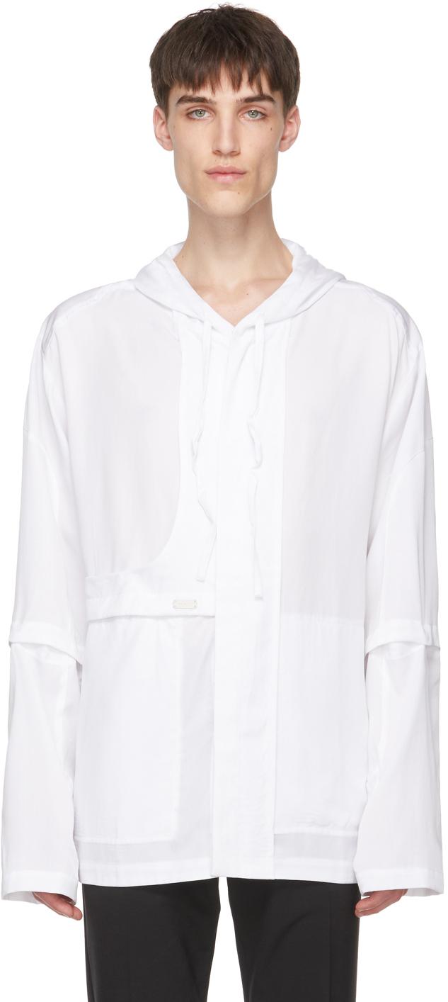 Heliot Emil 白色天丝衬衫夹克