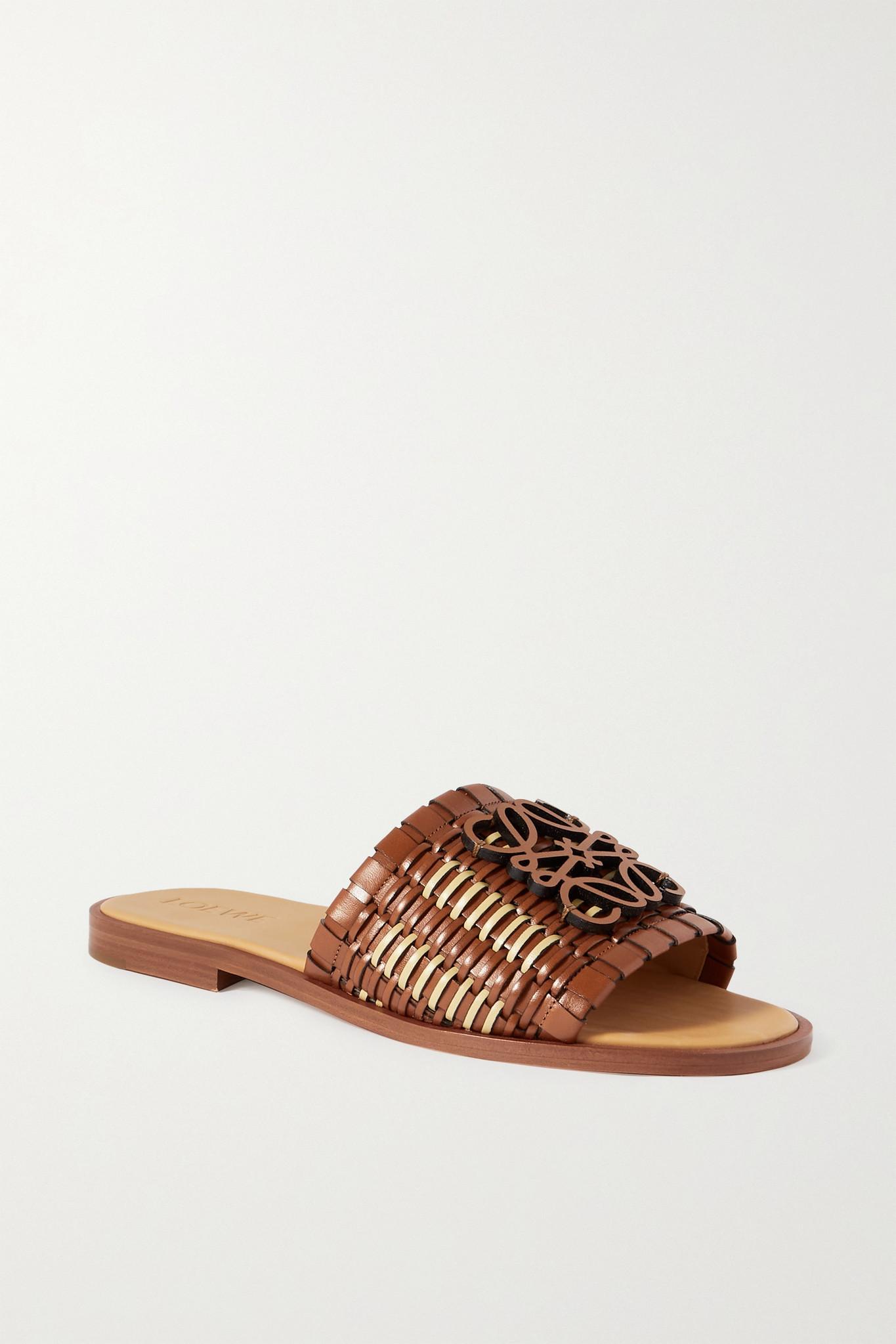 LOEWE - Anagram Woven Leather Slides - Brown - IT41