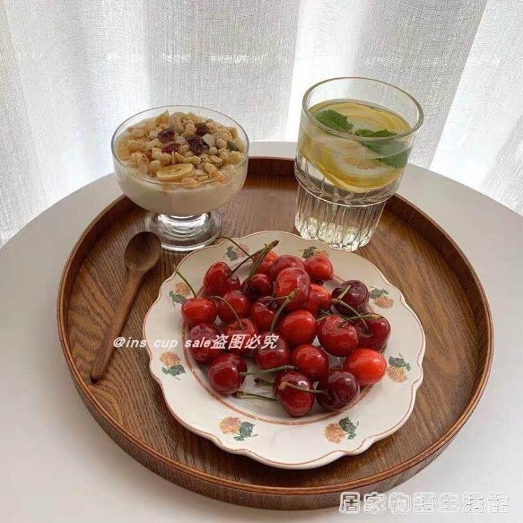 日式圆形木托盘茶盘咖啡厅茶水盘点心盘家用收纳盘餐盘蛋糕盘