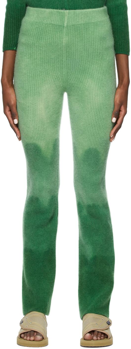 The Elder Statesman 绿色 Dip Medium Rib 羊绒喇叭长裤