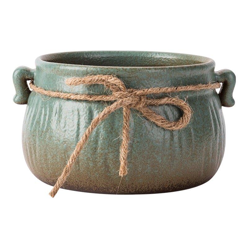 日式粗陶復古茶洗茶渣罐大號茶渣缸麻繩創意杯洗筆功夫茶具零配件