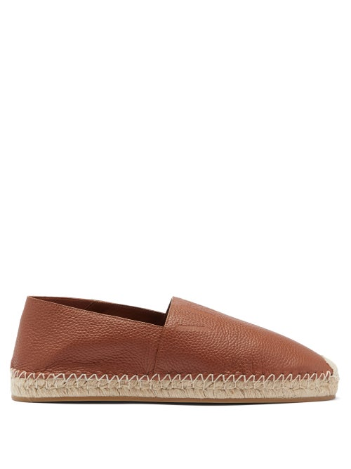 Valentino Garavani - Logo-debossed Leather Espadrilles - Mens - Tan