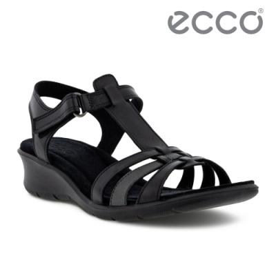 ECCO FINOLA SANDAL 皮革編織舒適坡跟涼鞋 女鞋 黑色