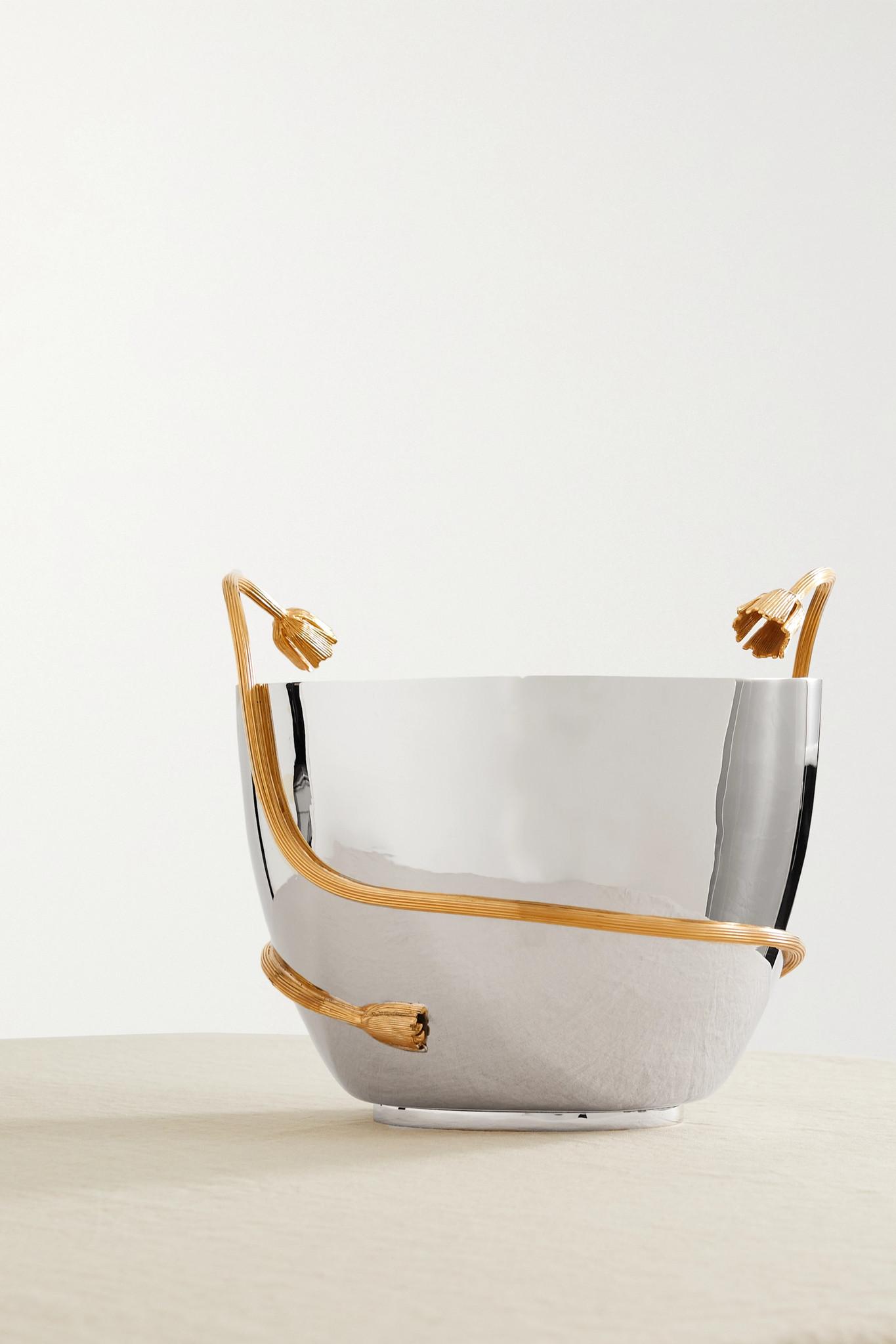 L'OBJET - Deco Leaves 镀金不锈钢香槟桶 - 银色 - one size