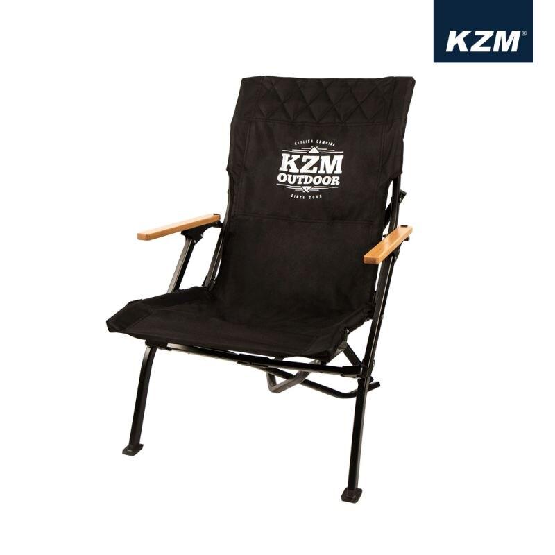【KAZMI 韓國】極簡時尚木手把折疊椅 戶外椅 休閒椅 黑色 (K20T1C003BK)