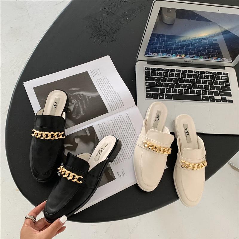 VIVILIAN韓劇同款金屬外穿低跟時尚半包拖鞋