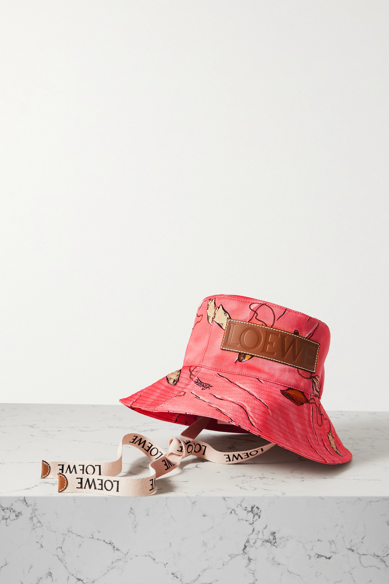LOEWE - + Paula's Ibiza Leather-trimmed Printed Cotton-twill Bucket Hat - Pink - S