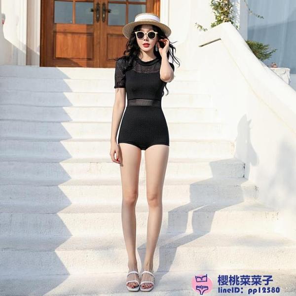 黑色游泳衣遮肚子泡溫泉時尚爆款連體保守顯瘦性感泳裝女大碼泳裝品牌【櫻桃】