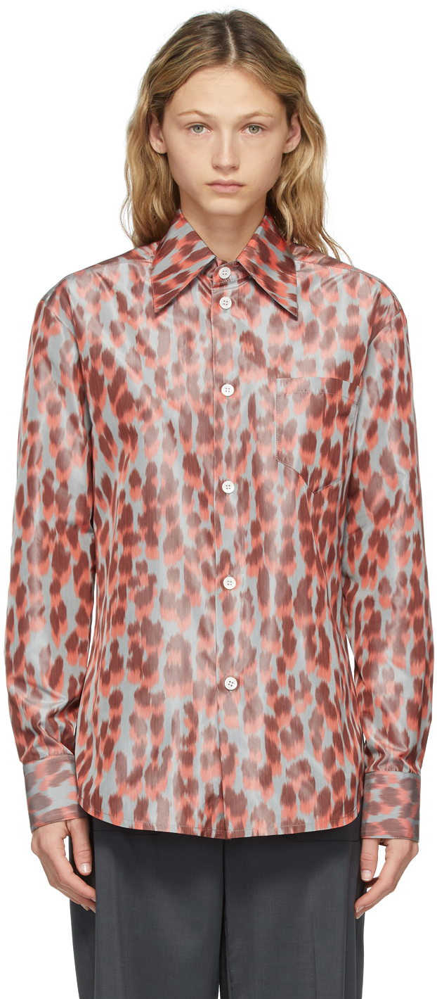 Namacheko 灰色 & 橙色 Warp Print Panther 衬衫