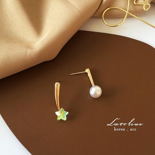 《Caroline》韓國熱賣水晶流星珍珠簡約造型時尚 高雅大方設計 耳環72853