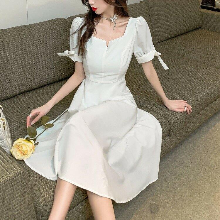 跨境女裝2021新款夏季名媛氣質時尚小清新收腰大擺氣質A字連衣裙