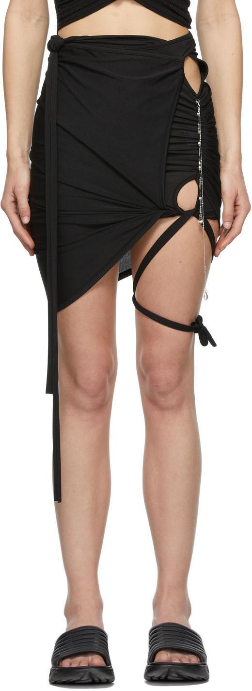 Hyein Seo 黑色 Lotus Shirring 短裙