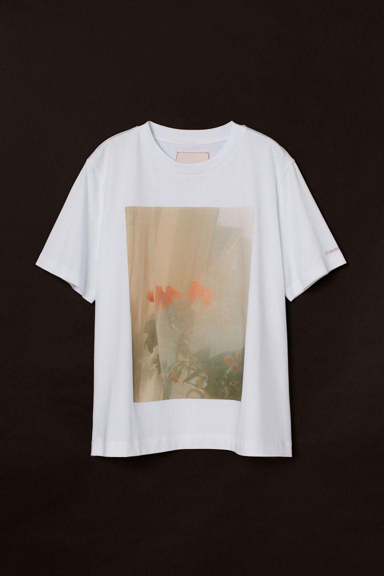H & M - 攝影輸出圖案T恤 - 白色