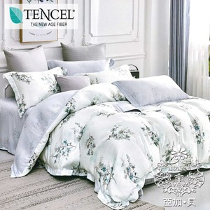 AGAPE 亞加貝【花見花開】標準雙人 高級純天絲兩用被床包組雙人四件組-花見花開